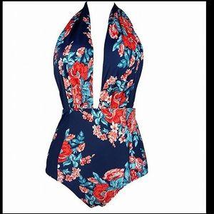 Cocoship Floral Halter One Piece Swimsuit sz 3XL